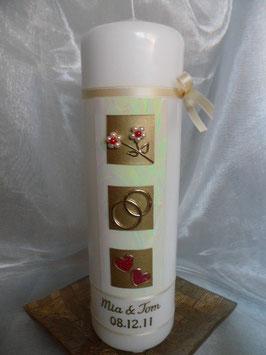 Sehr edle Hochzeitskerze HK209 Rot-Gold mit Perlblumen