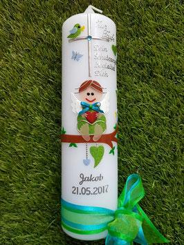 Taufkerze SK155 SCHUTZENGEL mit Spruch / Apfelgrün-Türkis Holoflitter / Silberschrift