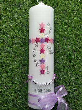 Taufkerze  TK202-1 Kreuz Flieder-Rosa-Pink-Creme Flitter & Buchstabenkette