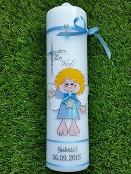 Taufkerze SK101 Schutzengel Junge Hellblau Flitter / Silberschrift