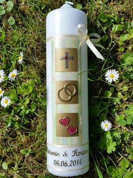 Sehr edle Hochzeitskerze HK210 Perlmutt-Gold-Rot mit Kreuz