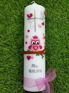 Taufkerze EULE mit Krone & Silberschrift TK180 Rosa-Pink Flitter