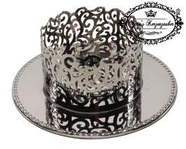 Kerzenständer Ornament KST 134-80 silber glänzend