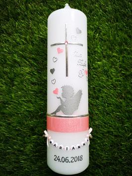Taufkerze SK154-1 SCHUTZENGEL sitzend Rosa Holoflitter & Silber mit Herzen/Ohne Schleife
