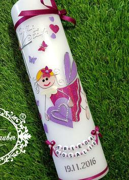 Taufkerze SK116 Schutzengel Pink-Flieder Holoflitter mit Herzen & Schmetterlinge