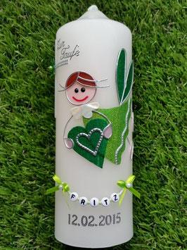 Patenkerze SK116 Schutzengel Apfelgrün-Grasgrün Holoflitter