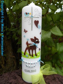 Taufkerze Bambi TK188 Braun-Hellblau Flitter Buchstabenkette©