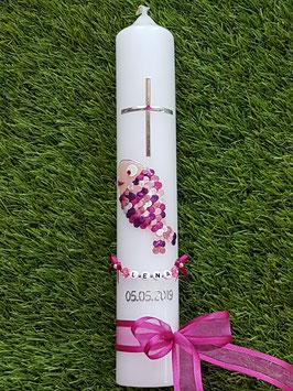"""Tauf oder Kommunionkerze Fisch Herzschuppen© TK196 Rosa-Pinktöne  >> DAS ORIGINAL©"""" /Band Pink"""