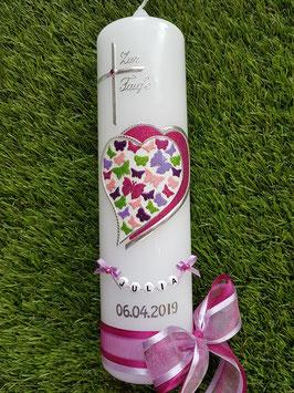 Taufkerze TK097 Schmetterlingsherz Pink-Rosa-Flieder-Apfelgrün-Brombeerlila Holoflitter & Kette