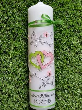 Hochzeitskerze Apfelgrün-Rosa Uni HK204 Klassisch