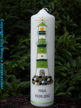 "Taufkerze TK304 ""Leuchtturm"" Apfelgrün Holoflitter"