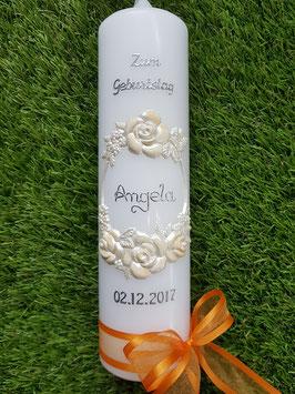 Geburtstagskerze Rosen GK321 Apricot-Creme /Orange Satin Organzaschleife