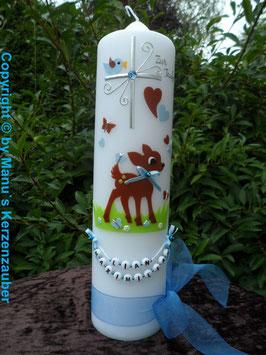 Taufkerze Bambi TK188 Braun-Hellblau Uni mit Buchstabenkette©