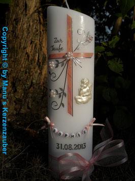 Taufkerze TK130 Schutzengel auf Wolke Rosa Marmoriert