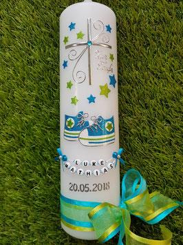 Taufkerze TK099 Babychucks Türkis-Apfelgrün Holoflitter