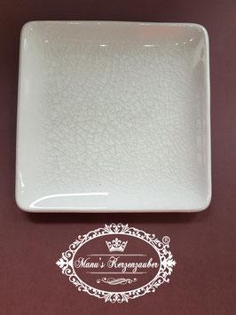Kerzenteller Porzellan Viereck Creme KST