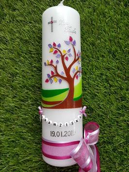 Taufkerze  Lebensbaum mit Buchstabenkette / Pink & Fliederfarbenes Satinband TK400 mit Kreuz