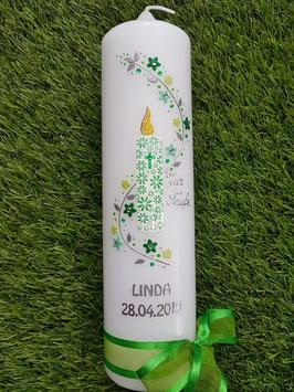 Taufkerze Kerze Blumenwind TK231 Grasgrün-Apfelgrün-Weiß Holoflitter / Silberschrift