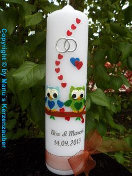 Hochzeitskerze Verliebte Eulen HK216-1 Hellblau-Apfelgrün mit Ringe!