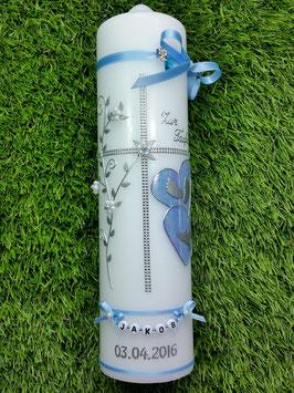 Taufkerze TK106 Klassisch Hellblau Marmoriert/Silber