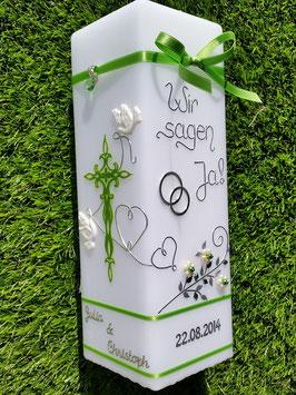 Hochzeitskerze Wir sagen Ja! HKS208 in Apfelgrün Holoflitter