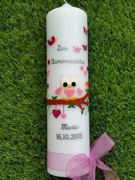 Taufkerze EULE das Original mit Silberschrift TK180 in Rosa-Creme-Pink Flitter