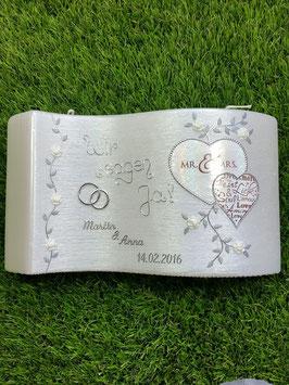 Hochzeitskerze HKS108 Mr. & Mrs. in Weiß Holoflitter mit Silber