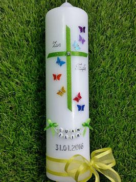Taufkerze Regenbogen Schmetterlinge TK190 Apfelgrün
