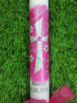Kommunionkerze Kreuz KK404 Pink & Silber Holoflitter