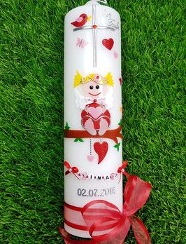 Taufkerze SK155 SCHUTZENGEL Rot-Rosa Holoflitter/ Blonde Haare / Buchstabenkette