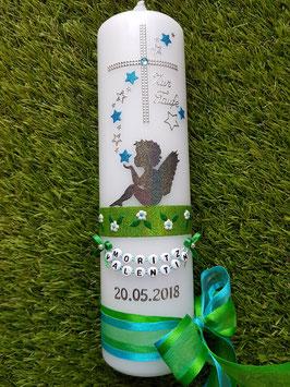 Taufkerze SK154-1 SCHUTZENGEL sitzend mit Sterne Anthrazit-Türkis-Grasgrün Holoflitter
