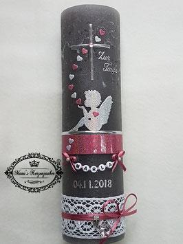 Vintage Taufkerze Silhouetten Schutzengel SK154-1-V mit Herzen / Kerze in Anthrazit / Silber-Altrosa Holoflitter