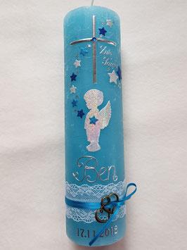 Vintage Taufkerze Silhouetten Schutzengel SK154-a-V / Kerze in Lichtblau / Silber-Türkis-Dunkelblau Holoflitter