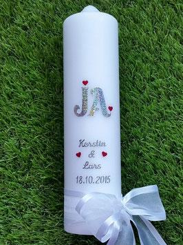 "Hochzeitskerze ""JA"" HK110 Silber Holoflitter"