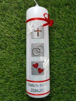 Sehr edle Hochzeitskerze HK210-2 Tauben / Rot Holoflitter & Rote Bänder