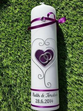 Hochzeitskerze HK208-1 Klassisch Brombeerlila Flitter