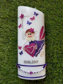 Taufkerze SK116 Schutzengel Dunkellila-Pink Holoflitter / Buchstabenkette / Schmetterlinge & Herzen