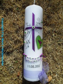 Taufkerze TK134 Herz in Brombeerlila-Apfelgrün Holoflitter