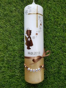Taufkerze  Engel TK154-a-U Kupfer-Gold-Silber-Champagner Holoflitter