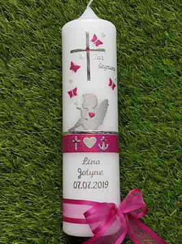 Taufkerze SK154-1 SCHUTZENGEL sitzend Pink Holoflitter & Silberschrift / Schmetterlinge & Glaube-Liebe-Hoffnung