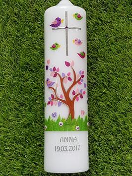 Taufkerze TK400 Lebensbaum mit Vögel & Silberschrift Pink-Rosa-Flieder-Bunt