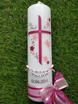 Taufkerze Kreuz mit Sterne TK190 Pink/Rosa Holoflitter / Engel / Doppelschleife