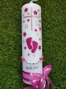 Taufkerze TK096 Große Füsschen Pink-Fuchsia Holoflitter mit Silber