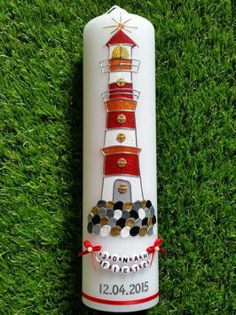 """Taufkerze TK304 """"Leuchtturm"""" Rot mit Buchstabenkette"""