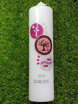 Kommunionkerze Kreise KK431 Pink-Rosa-Braun-Silber Holoflitter