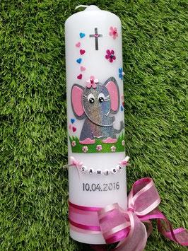 Taufkerze Elefant TK210-8 Anthrazit-Pink-Türkis-Rosa Holoflitter