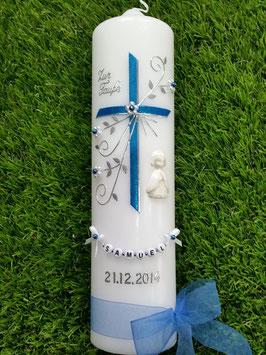 Taufkerze TK130 sehr edel Mittelblau Flitter