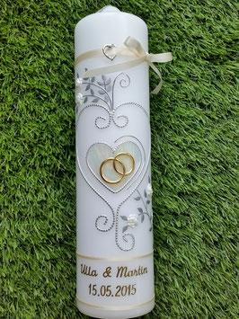 Hochzeitskerze klassisch HK208 Creme Marmoriert-Silber-Gold