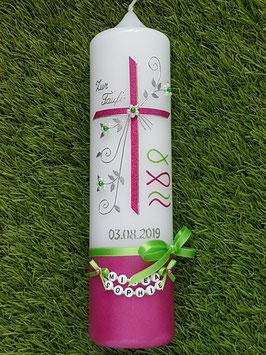 Taufkerze Kreuz TK137-U Pink-Apfelgrün Holoflitter