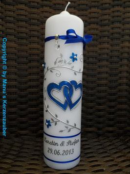 Hochzeitskerze Dunkelblau Holoflitter HK204 Klassisch